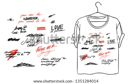 Different slogans slogan. Eyes and mountain typography graphic print, fashion drawing for t shirt