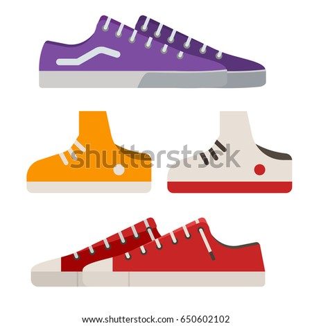 Different sneakers and gumshoes icons in flat design. Casual shoes and boots vector illustration.