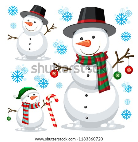 stock-vector-different-snowman-on-white-template-illustration