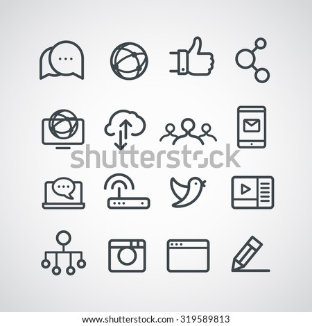 Different social media icons collection. Vector clip-art