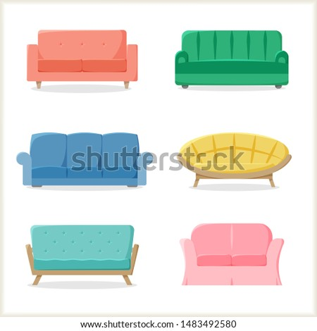 Different sofas set, couches collection, colorful furniture in flat style, vector illustration