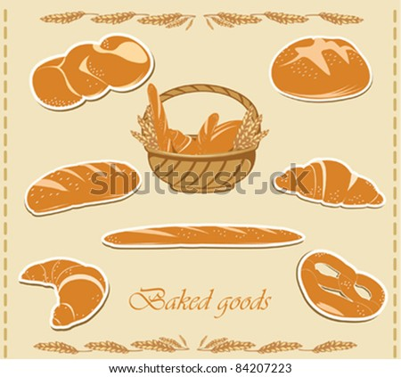 Different sorts of vector bread.Vector illustration.Vector stickers