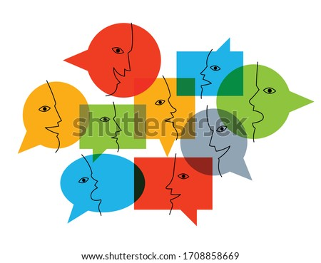 Different speech bubbles composition vector flat design isolated on white, global communication concept, public discussion or opinion diversity metaphor, conference or brainstorming. Photo stock ©