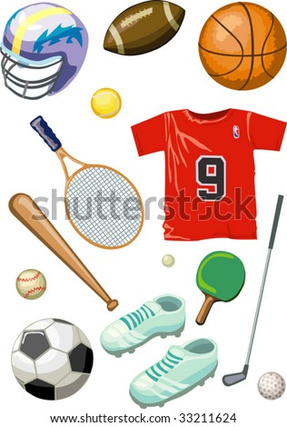 Different sport games bolls - baseball, ping-pong, tennis basketball, golf, football, soccer with equipment. Isolated on white background.