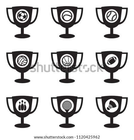 Different Sport icons, cups, shields and balls