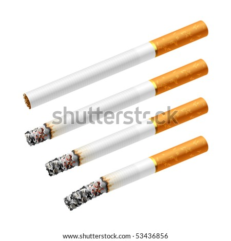 Different stages of smoking a cigarette. Vector.