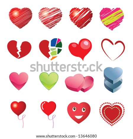 Different style heart icons