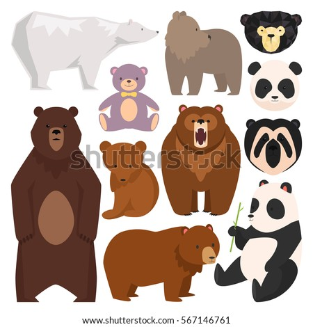 Stock Photo Different style wild bears vector illustration. Cute, angry and toys furry bear cartoon character different pose and breeds .