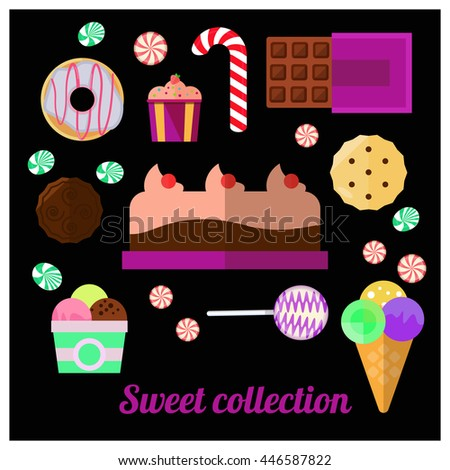 Different sweets: chocolate, muffin, cupcake, donut, biscuits, lolly pop and other. #446587822