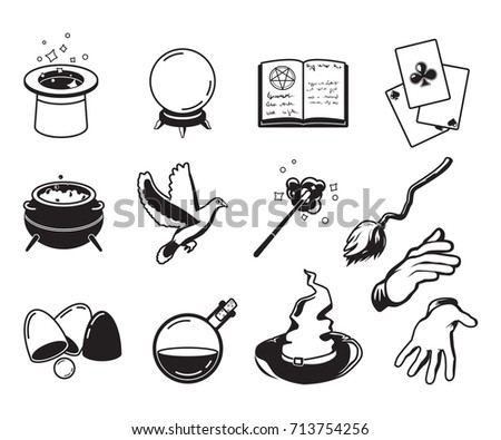 Different symbols of magicians, alchemists and wizards. Vector monochrome silhouettes isolate on white. Illustration of magician trick and performance symbol