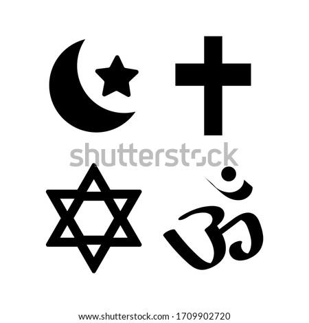 Different symbols of religion. Islamic, Christian, Jewish and Hindu religion.