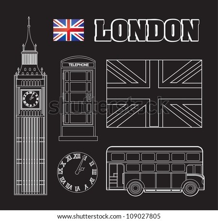 different symbols representing London vector illustration - stock vector