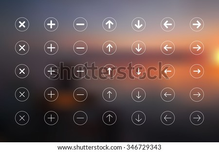 different thickness arrows set of vector buttons with next, previous, delete, add, down, up