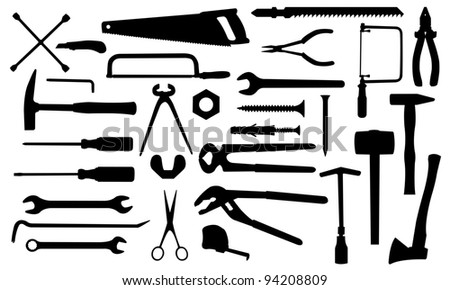 different tools isolated on white - stock vector