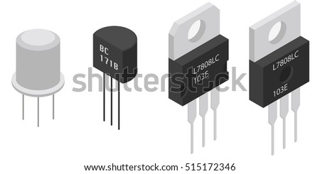Different Transistors in isometric view. Isometric Electronic components icons set.