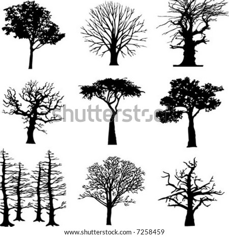 Different Tree Silhouettes Vector