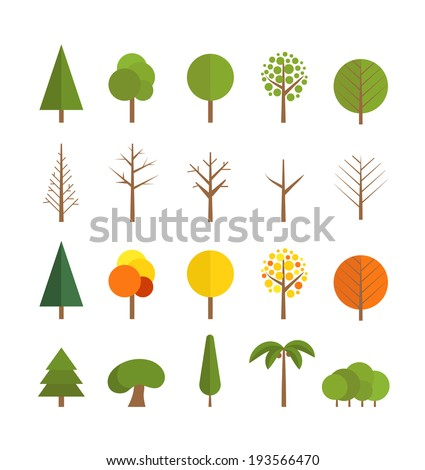 Different trees collection isolated on white
