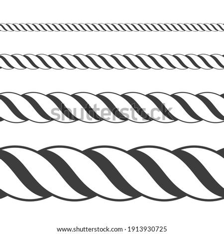 Different twine black thickness rope. Vector set of ropes different sizes. Rope seamless pattern. Top view.