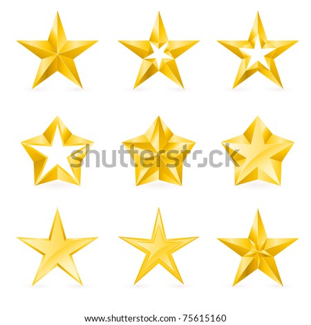 Different types and forms of gold stars. Illustration for design on white background