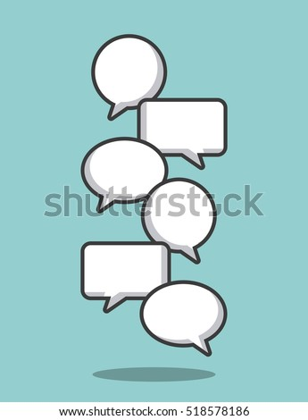 different types communication bubbles over blue background. vector illlustration