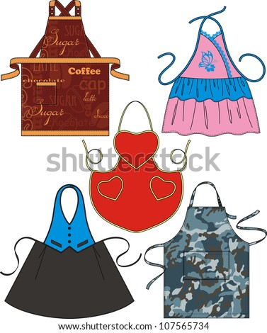 Different types of aprons with pockets and drawings