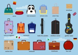 Different types of baggage, bags, cases, suitcases, backpacks, kids backpack, box, carry-on luggage, tube for poster, purse, animal crate, paper bag, clothes cover, guitar case. Vector illustration