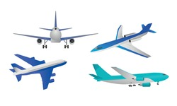 Different types of blue passanger airpcrafts over white background