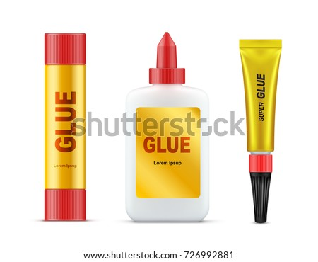 Different types of branded glue tubes with gold label and red cap realistic vector set isolated on white background. Paper glue stick, stationery liquid, product mockup