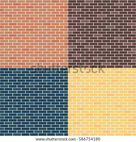 Different types of brick walls. Background of brick walls. red, yellow, blue, brown. Seamless pattern. Vintage and comfortable. For Backgrounds, textures, advertising.