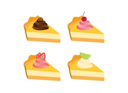 Different types of cakes icon set vector. Piece of cake with chocolate, strawberry, cherry and lime icon set. Fruit cream pie icon isolated on a white background. Delicious fruit cake vector