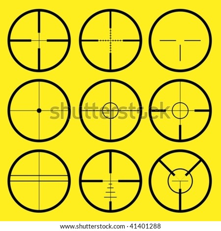 Reticle Types http://www.shutterstock.com/pic-41401288/stock-vector-different-types-of-crosshair-or-reticle-used-for-precise-alignment-or-for-aiming-with-firearms.html