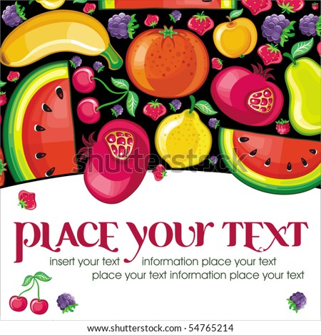Different types of delicious fruits combined in frame. With space for your text