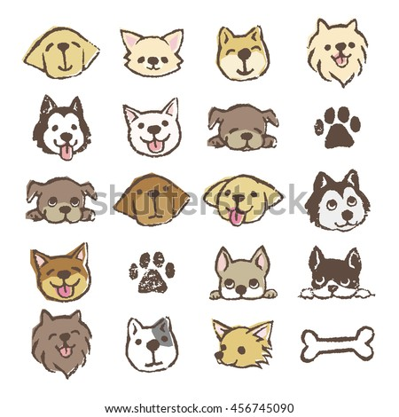 Different types of dogs icon set, color on white background