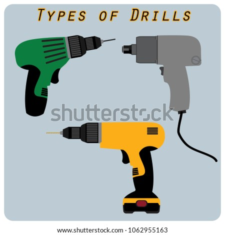 Different types of drills. Vector illustration.