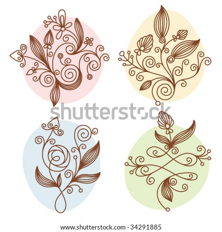 Different types of elements floral design. - stock vector