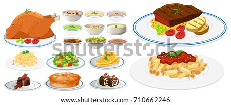 Different types of food on plates illustration