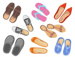 Different types of footwear vector illustrations set. Collection of sport and business shoes, sneakers, pairs of red and brown shoes top view isolated on white background. Fashion, footwear concept