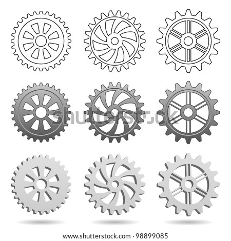 Different types of gears isolated on white background