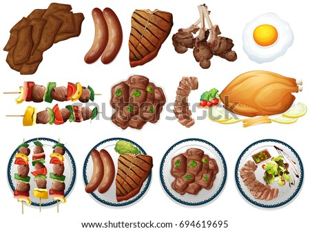 Different types of grilled food illustration