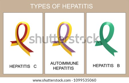 Different types of hepatitis. A set of symbolic ribbons. Red and yellow, jade, purple and yellow.