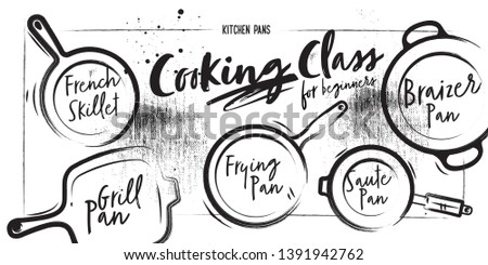 Different types of pans. Chalk and coal style. Line style elements