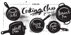 Different types of pans. Chalk and coal style. White vintage background