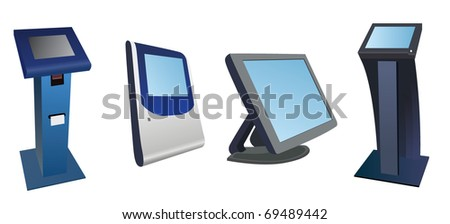 Different types of payment terminals. Vector image