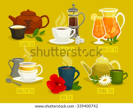 different types of tea   vector