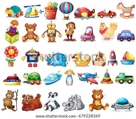 Different types of toys illustration
