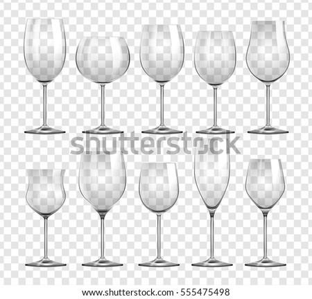 Different types of wine glasses illustration
