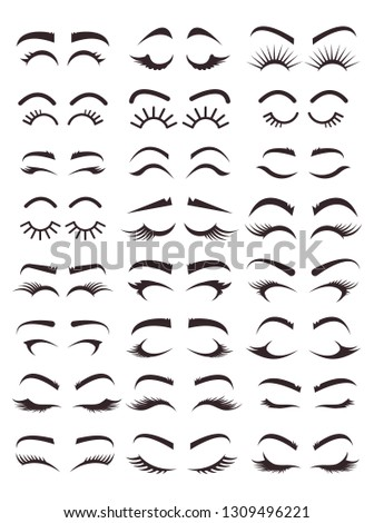 Different types variation of eyebrows and eyelashes models. Black line icons illustration isolated graphic design set. Beauty industry concept