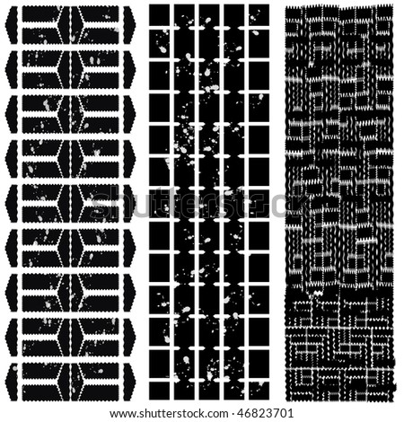 different tyre tracks with dirt - black-white