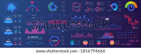 Different UI, UX, GUI mobile screens modern infographic. Template dashboard infographic, charts, graph and graphic UI, UX, KIT elements. Info chart elements for online statistics and data analytics.