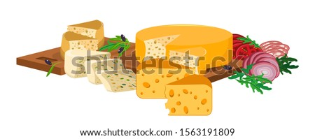 Different varieties of cheese, sliced and lying on wooden cutting boards. Near chopped tomatoes, onions, sausages, olives and green leaves. Vector illustration